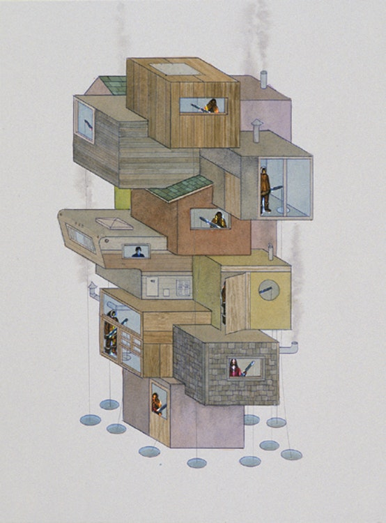 Vertical Ice-Fishing Colony