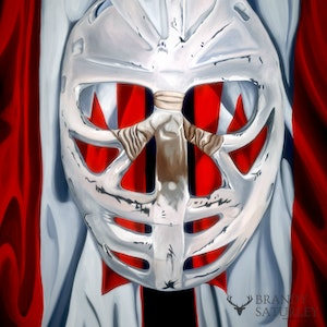 Goalie's Mask: red, white & Dryden (The Goalies Mask Painting)