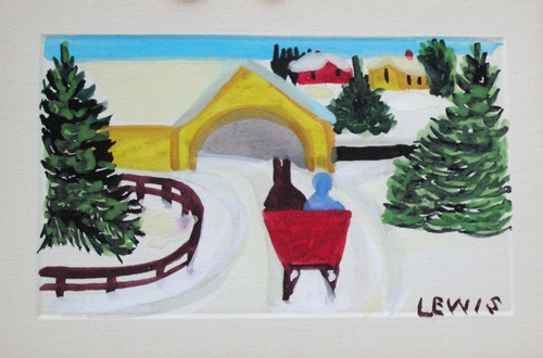 Covered Bridge with Sleigh