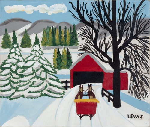 Covered Bridge with Red Sleigh