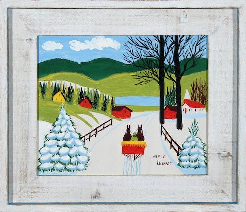 Snowy Bridge with Sleigh