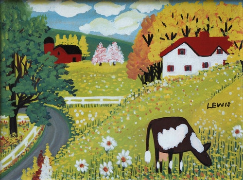 Cow and Daisies