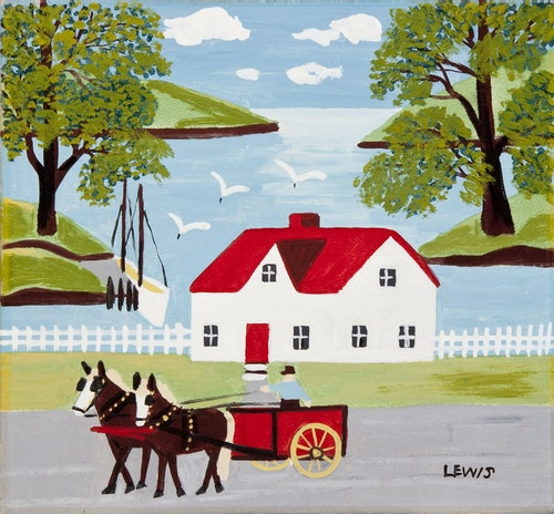 Horse Cart and Harbour Scene