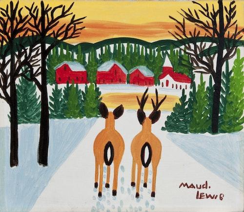 Deer Overlooking Village (Deer Pair and Village at Sunset)