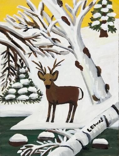 Deer in Winter (Buck at Waters Edge)