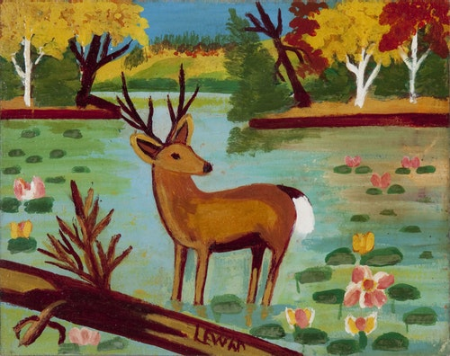 Deer Standing in the Water, (Buck among Waterlilies)