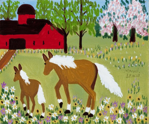 Mare and Foal in Spring Meadow