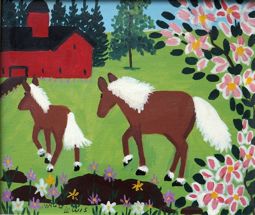 Mare and Foal With Spring Blossoms