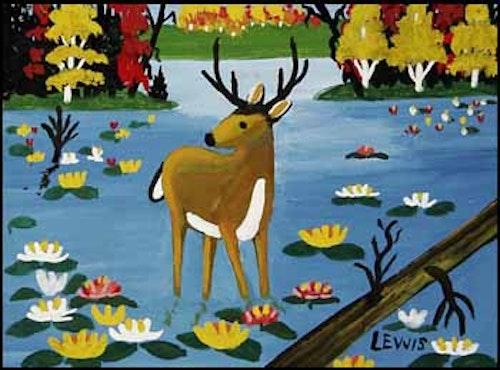 Deer Standing in the Water (Buck and Autumn Waterlilies)