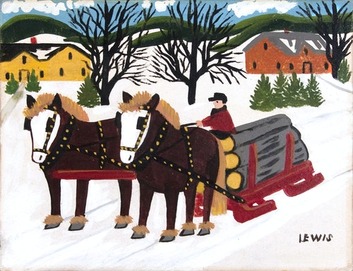 Team of Horses Hauling Logs in Winter
