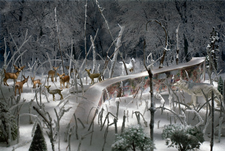 Forest Ruin (with horse and deer)