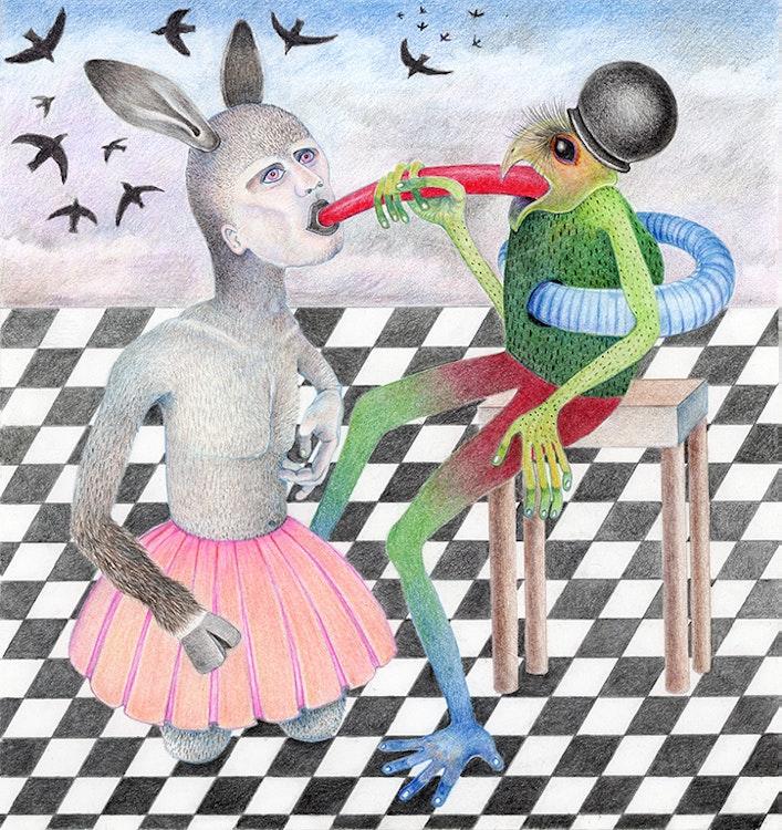 Rabbit Boy with Birds