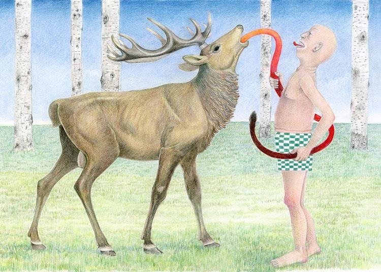Old man with Elk