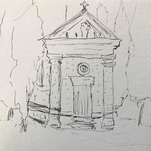 church in tuscan field #1