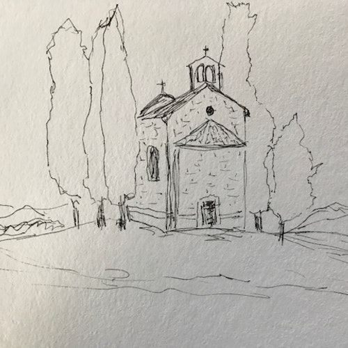 Church in Tuscan Valley Italy