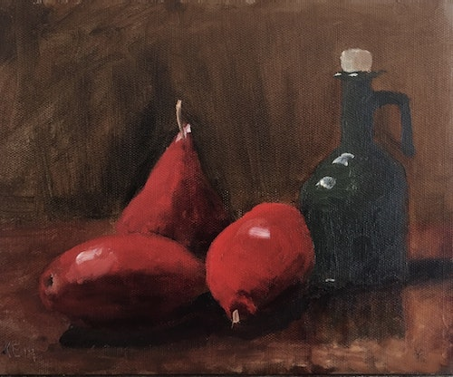3 Red Pears and an Oil Carafe